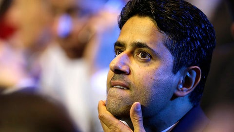FILE - In this Aug. 25, 2016 file photo, President of Paris Saint-Germain soccer club, Nasser Al-Khelaifi, gestures during the UEFA Champions League draw at the Grimaldi Forum, in Monaco. Al-Khelaifi was questioned Wednesday, Oct. 25, 2017, by Swiss investigators who allege he bribed a top FIFA official in a World Cup broadcasting rights deal. He met with Switzerland's federal prosecutors, two weeks after they revealed criminal proceedings against him. Al-Khelaifi is also Qatari soccer and television executive. (AP Photo/Claude Paris, File)