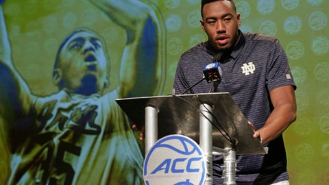 Notre Dame's Bonzie Colson answers a question during the Atlantic Coast Conference men's NCAA college basketball media day in Charlotte, N.C., Wednesday, Oct. 25, 2017. (AP Photo/Chuck Burton)