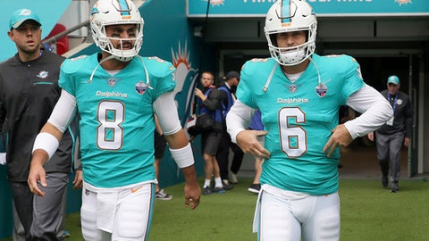 FILE - In this Oct. 1, 2017, file photo, Miami Dolphins quarterbacks Jay Cutler (6) and Matt Moore walk onto the field to warm-up before an NFL football game against New Orleans Saints at Wembley Stadium in London. Having a backup quarterback behind center on a short week usually means trouble. Not so for the Dolphins. Moore came on for injured Jay Cutler to cheers at Hard Rock Stadium and rallied the troops past the Jets. Now he starts at Baltimore. (AP Photo/Tim Ireland, File)