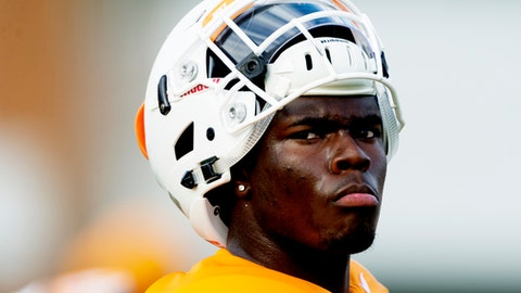 FILE - In this Aug. 1, 2017, file photo, Tennessee linebacker Will Ignont watches during NCAA college football practice in Knoxville, Tenn. Tennessee running back John Kelly and linebacker Will Ignont have received citations after police said they found marijuana in Kelly's car during a traffic stop. Knoxville police say they stopped a car for having a headlight out Tuesday, Oct. 24, 2017, at about 10:46 p.m. Police said they searched the vehicle after smelling marijuana and found 4.6 grams of marijuana and a glass pipe in the console.  (Calvin Mattheis/Knoxville News Sentinel via AP, File)