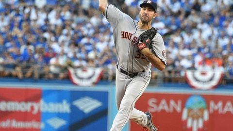 Houston Astros starting pitcher Justin Verlander throws during the first inning of Game 2 of baseball's World Series against the Los Angeles Dodgers Wednesday, Oct. 25, 2017, in Los Angeles. (AP Photo/Jane Kamin-Oncca, Pool)