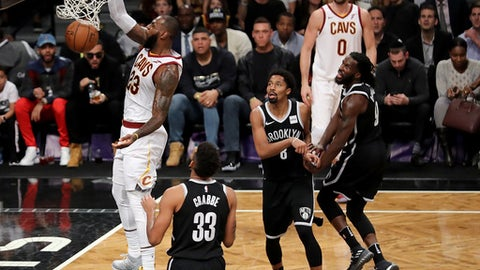 NEW YORK, NY - OCTOBER 25: LeBron James #23 of the Cleveland Cavaliers dunks the ball in the second quarter against the Brooklyn Nets during their game at Barclays Center on October 25, 2017 in the Brooklyn Borough of New York City. NOTE TO USER: User expressly acknowledges and agrees that, by downloading and or using this photograph, User is consenting to the terms and conditions of the Getty Images License Agreement.  (Photo by Abbie Parr/Getty Images)