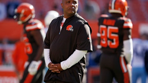 FILe - In this Sunday, Oct. 22, 2017 file photo, Cleveland Browns head coach Hue Jackson watches before an NFL football game between the Tennessee Titans and the Cleveland Browns in Cleveland. Hue Jackson's going back to London, one of many stops on his coaching resume. The food wasn't great, but he won a championship. With Jackson suffering through another painful, winless season in his second year in Cleveland, his future has become uncertain as the Browns travel across the Atlantic to host the Minnesota Vikings at Wickenham Stadium. The Browns play the Minnesota Vikings on Sunday, Oct. 29, 2017. (AP Photo/Ron Schwane, File)
