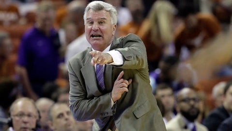 FILE - In this Saturday, Feb. 18, 2017, file photo, Kansas State head coach Bruce Weber calls to his players during the first half of an NCAA college basketball game against Texas, in Austin, Texas. Kansas State's program reboot a few years ago left a trio of juniors to provide the foundation this season. Barry Brown, Dean Wade and Kamau Stokes should have plenty of help, though, with holdovers such as Xavier Sneed and newcomers such as Mawdo Sallah in the mix. The goal is to build on last year's NCAA Tournament appearance. (AP Photo/Eric Gay, File)