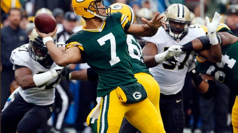 FILE - In this Sunday, Oct. 22, 2017, file photo, Green Bay Packers quarterback Brett Hundley (7) throws a pass during the first half of an NFL football game against the New Orleans Saints in Green Bay, Wis. A bye this week gives Packers coach Mike McCarthy more time to find ways to get the offense on track without injured quarterback Aaron Rodgers. They're in transition with backup Brett Hundley now behind center while Rodgers recovers from a broken collarbone. (AP Photo/Mike Roemer, File)
