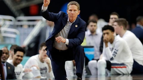 FILE - In this April 1, 2017, file photo, Gonzaga head coach Mark Few signals during the second half in the semifinals of the NCAA Final Four college basketball tournament against South Carolina in Glendale, Ariz. For the first time in 17 seasons the Bulldogs, who have gone to 19 consecutive NCAA Tournaments, were not picked to win the league. (AP Photo/David J. Phillip, File)