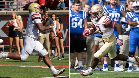 FILE - At left, in an Oct. 14, 2017, file photo, Boston College running back AJ Dillon (2) crosses the goal line to score during the second half of an NCAA college football game against Louisville, in Louisville, Ky. At right, also in an Oct. 14, 2017, file photo, Florida State's Cam Akers (3) carries the ball during the first half of an NCAA college football game against Duke in Durham, N.C. Florida State and Boston College go into Friday's game with freshmen having central roles in their offenses.  (AP Photo/File)