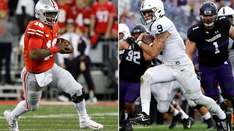 FILE  - At left, in a Sept. 9, 2017, file photo, Ohio State quarterback J.T. Barrett plays against Oklahoma during the first half of an NCAA college football game in Columbus, Ohio. At right, in an Oct. 7, 2017, file photo, Penn State quarterback Trace McSorley (9) scores a touchdown by running during the second half of an NCAA college football game against Northwestern in Evanston, Ill. No. 2 Nittany Lions (7-0, 4-0 Big Ten) visit No. 6 Ohio State (6-1, 4-0) on Saturday. (AP Photo/File)
