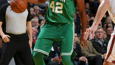 Milwaukee, WI - OCTOBER 26: Al Horford #42 of the Boston Celtics handles the ball against the Milwaukee Bucks on October 26, 2017 at the UW-Milwaukee Panther Arena in Milwaukee, Wisconsin. NOTE TO USER: User expressly acknowledges and agrees that, by downloading and or using this Photograph, user is consenting to the terms and conditions of the Getty Images License Agreement. Mandatory Copyright Notice: Copyright 2017 NBAE (Photo by Gary Dineen/NBAE via Getty Images)