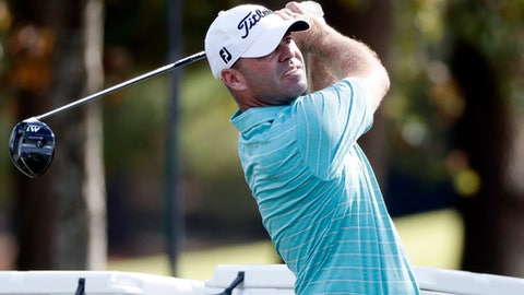 Ryan Amour hits off the 18th hole during the second day of the Sanderson Farms Championship golf tournament in Jackson, Miss., Friday, Oct. 27, 2017. (AP Photo/Rogelio V. Solis)
