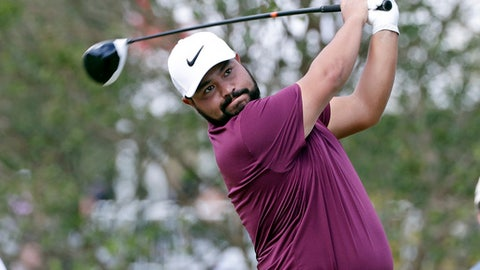 J.J. Spaun watches his drive from the sixth tee box during the second day of the Sanderson Farms Championship golf tournament in Jackson, Miss., Friday, Oct. 27, 2017. (AP Photo/Rogelio V. Solis)