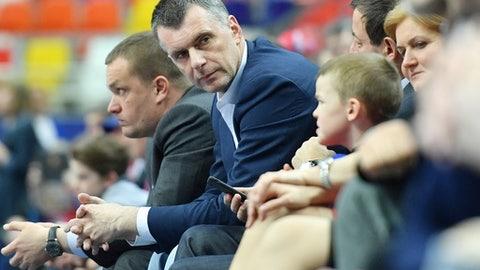 Russian tycoon Mikhail Prokhorov looks on during the Euroleague Game 2 playoff match CSKA Moscow vs Baskonia Vitoria Gasteiz in Moscow on April 20, 2017. / AFP PHOTO / Natalia KOLESNIKOVA        (Photo credit should read NATALIA KOLESNIKOVA/AFP/Getty Images)