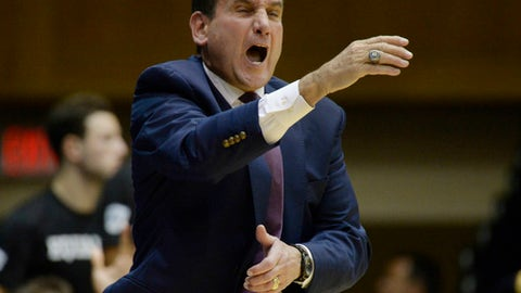 Duke head coach Mike Krzyzewski yells at his team during an NCAA college exhibition basketball game against Northwest Missouri State, Friday, Oct. 27, 2017 in Durham, N.C. (Chuck Liddy/The News & Observer via AP)