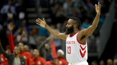 CHARLOTTE, NC - OCTOBER 27:  James Harden #13 of the Houston Rockets reacts after a play against the Charlotte Hornets during their game at Spectrum Center on October 27, 2017 in Charlotte, North Carolina.  NOTE TO USER: User expressly acknowledges and agrees that, by downloading and or using this photograph, User is consenting to the terms and conditions of the Getty Images License Agreement.  (Photo by Streeter Lecka/Getty Images)