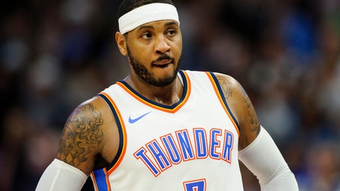 MINNEAPOLIS, MN - OCTOBER 27: Carmelo Anthony #7 of the Oklahoma City Thunder looks on during the game against the Minnesota Timberwolves on October 27, 2017 at the Target Center in Minneapolis, Minnesota. NOTE TO USER: User expressly acknowledges and agrees that, by downloading and or using this Photograph, user is consenting to the terms and conditions of the Getty Images License Agreement. (Photo by Hannah Foslien/Getty Images)