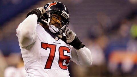Houston Texans offensive tackle Duane Brown warms up before the start of an NFL football game between the Indianapolis Colts and the Houston Texans Sunday, Dec. 11, 2016, in Indianapolis. (AP Photo/Michael Conroy)