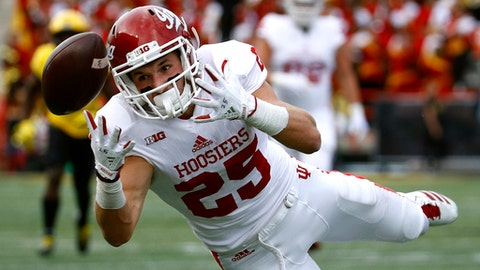 Indiana wide receiver Luke Timian reaches for but is unable to catch a pass-attempt in the first half of an NCAA college football game against Maryland in College Park, Md., Saturday, Oct. 28, 2017. (AP Photo/Patrick Semansky)