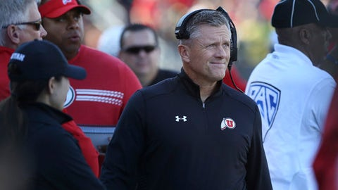 Utah head coach Kyle Whittingham walks the sidelines during their NCAA college football game against Oregon Saturday, Oct. 28, 2017, in Eugene, Ore. (AP Photo/Chris Pietsch)