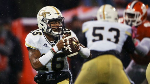 Georgia Tech quarterback TaQuon Marshall (16) looks to pass in the first half of an NCAA college football game against Clemson, Saturday, Oct. 28, 2017, in Clemson, S.C. (AP Photo/John Bazemore)