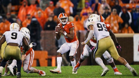 Clemson quarterback Kelly Bryant (2) looks to pass as Georgia Tech defensive lineman Desmond Branch (99) defends in the second half of an NCAA college football game Saturday, Oct. 28, 2017, in Clemson, S.C. (AP Photo/John Bazemore)