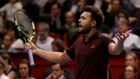 Jo-Wilfried Tsonga of France reacts during their final match against Lucas Pouille of France at the Erste Bank Open tennis tournament in Vienna, Austria, Sunday, Oct. 29, 2017. (AP Photo/Ronald Zak)