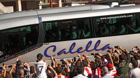 Real Madrid team bus arrives to Girona's Montilivi stadium before the Spanish La Liga soccer match between Girona and Real Madrid in Girona, Sunday, Oct. 29, 2017. (AP Photo/Francisco Seco)