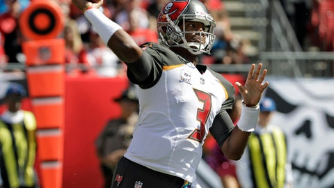Tampa Bay Buccaneers quarterback Jameis Winston (3) throws a pass against the Carolina Panthers during the first quarter of an NFL football game Sunday, Oct. 29, 2017, in Tampa, Fla. (AP Photo/Chris O'Meara)