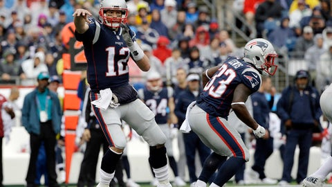 New England Patriots quarterback Tom Brady passes against the Los Angeles Chargers during the first half of an NFL football game, Sunday, Oct. 29, 2017, in Foxborough, Mass. (AP Photo/Steven Senne)