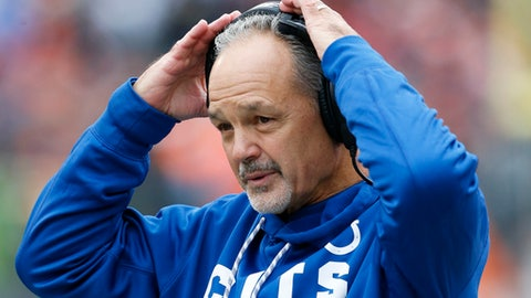Indianapolis Colts head coach Chuck Pagano works the sideline in the first half of an NFL football game against the Cincinnati Bengals, Sunday, Oct. 29, 2017, in Cincinnati. (AP Photo/Gary Landers)