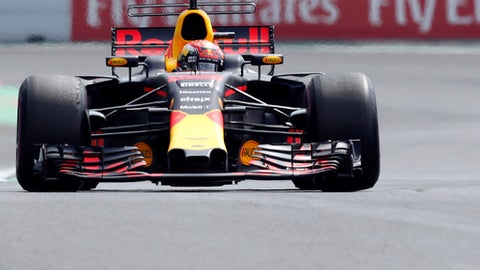 Red Bull driver Max Verstappen of the Netherlands, steers his car during the Formula One Mexico Grand Prix auto race at the Hermanos Rodriguez racetrack in Mexico City, Sunday, Oct. 29, 2017. (AP Photo/Moises Castillo)