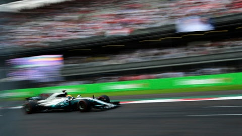 Mercedes' British driver Lewis Hamilton steers his car during the Formula One Mexico Grand Prix auto race at the Hermanos Rodriguez racetrack in Mexico City, Sunday, Oct. 29, 2017. (Pedro Pardo/Pool photo via AP)