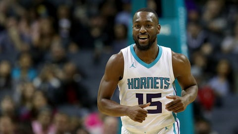 CHARLOTTE, NC - OCTOBER 29:  Kemba Walker #15 of the Charlotte Hornets reacts after a play against the Orlando Magic during their game at Spectrum Center on October 29, 2017 in Charlotte, North Carolina.  NOTE TO USER: User expressly acknowledges and agrees that, by downloading and or using this photograph, User is consenting to the terms and conditions of the Getty Images License Agreement.  (Photo by Streeter Lecka/Getty Images)