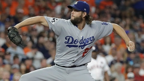 Los Angeles Dodgers starting pitcher Clayton Kershaw throws during the first inning of Game 5 of baseball's World Series against the Houston Astros Sunday, Oct. 29, 2017, in Houston. (AP Photo/David J. Phillip)