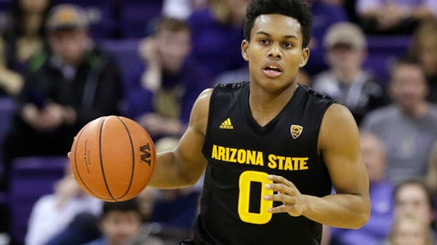 FILE - This Feb. 3, 2016 file photo shows Arizona State's Tra Holder in action against Washington in an NCAA college basketball game in Seattle. Arizona State is expected to make a push for the NCAA Tournament this season after coach Bobby Hurley added several talented big men to go with his trio of senior guards. (AP Photo/Elaine Thompson)