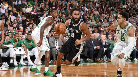 BOSTON, MA - OCTOBER 30: Patty Mills #8 of the San Antonio Spurs handles the ball against the Boston Celtics on October 30, 2017 at the TD Garden in Boston, Massachusetts.  NOTE TO USER: User expressly acknowledges and agrees that, by downloading and or using this photograph, User is consenting to the terms and conditions of the Getty Images License Agreement. Mandatory Copyright Notice: Copyright 2017 NBAE  (Photo by Brian Babineau/NBAE via Getty Images)