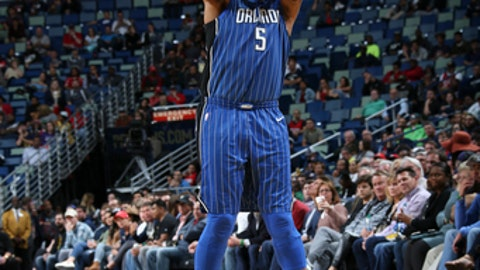 NEW ORLEANS, LA - OCTOBER 30: Marreese Speights #5 of the Orlando Magic shoots the ball against the New Orleans Pelicans on October 30, 2017 at the Smoothie King Center in New Orleans, Louisiana. NOTE TO USER: User expressly acknowledges and agrees that, by downloading and or using this Photograph, user is consenting to the terms and conditions of the Getty Images License Agreement. Mandatory Copyright Notice: Copyright 2017 NBAE (Photo by Layne Murdoch/NBAE via Getty Images)