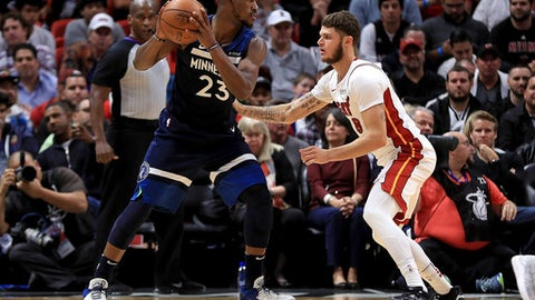 MIAMI, FL - OCTOBER 30: Jimmy Butler #23 of the Minnesota Timberwolves posts up Tyler Johnson #8 of the Miami Heat during a game  at American Airlines Arena on October 30, 2017 in Miami, Florida. NOTE TO USER: User expressly acknowledges and agrees that, by downloading and or using this photograph, User is consenting to the terms and conditions of the Getty Images License Agreement.  (Photo by Mike Ehrmann/Getty Images)
