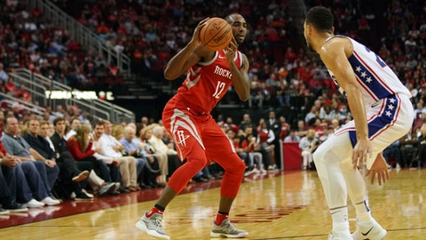 HOUSTON, TX - OCTOBER 30:  Luc Mbah a Moute #12 of the Houston Rockets handles the ball against the Philadelphia 76ers on October 30, 2017 at the Toyota Center in Houston, Texas. NOTE TO USER: User expressly acknowledges and agrees that, by downloading and or using this photograph, User is consenting to the terms and conditions of the Getty Images License Agreement. Mandatory Copyright Notice: Copyright 2017 NBAE (Photo by Darren Carroll/NBAE via Getty Images)