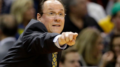 FILE - In this March 17, 2017, file photo, Wichita State head coach Gregg Marshall directs his team against Dayton during the first half of a first-round game in the men's NCAA college basketball tournament in Indianapolis. With every starter back from 30-win team, Wichita State is a trendy Final Four contender. The Shockers are also joining the American Athletic Conference after decades spent in the Missouri Valley, giving the program more exposure than ever before. (AP Photo/Michael Conroy, File)
