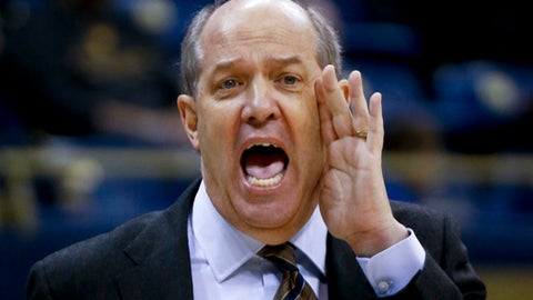 FILE - In this Jan. 14, 2017, file photo, Pittsburgh head coach Kevin Stallings shouts to his team during an NCAA college basketball game against Miami, in Pittsburgh. Pittsburgh enters its second season under Stallings with a completely retooled roster and minimal expectations. The new-look Panthers have been picked to finish last in the ACC. (AP Photo/Keith Srakocic, FILE)