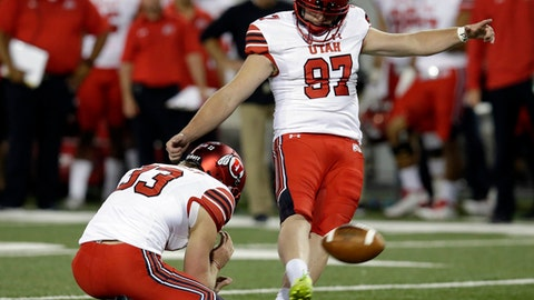 FILE - In this Sept. 22, 2017, file photo, Utah place kicker Matt Gay (97) kicks in the second half of an NCAA college football game against Arizona in Tucson, Ariz. Kicker Matt Gay is one positive in a serious slump for the Utah Utes. Colorado's kicker is a 30-year-old freshman, while Washington State's kicker booted a 56-yard field goal last weekend. The Pac-12 has some intriguing players at the vitally important position. (AP Photo/Rick Scuteri, File)