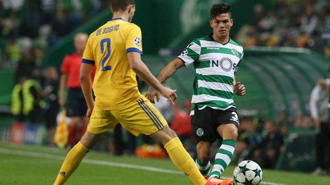 Juventus' Mattia de Sciglio, left, challenges for the ball with Sporting's Jonathan Silva during a Champions League, Group D, soccer match between Sporting CP and Juventus at the Alvalade stadium in Lisbon, Tuesday, Oct. 31, 2017. (AP Photo/Armando Franca)