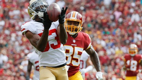 FILE - In this Oct. 15, 2017, file photo, San Francisco 49ers cornerback Rashard Robinson (33) intercepts a pass intended for Washington Redskins tight end Vernon Davis (85) during the first half of an NFL football game in Landover, Md.  The New York Jets have acquired cornerback Rashard Robinson from the San Francisco 49ers for a pick in next year's draft.  A person with direct knowledge of the deal tells The Associated Press that New York traded a fifth-rounder to San Francisco on Tuesday, Oct. 31, 2017. (AP Photo/Alex Brandon, File)