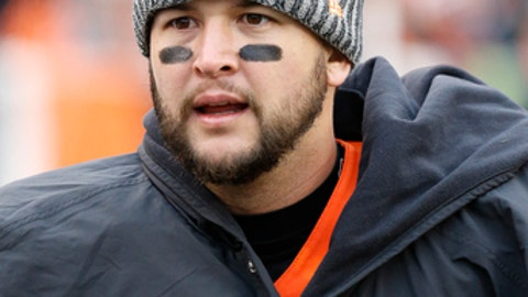 Cincinnati Bengals quarterback AJ McCarron walks the sidelines in the second half of an NFL football game against the Indianapolis Colts, Sunday, Oct. 29, 2017, in Cincinnati. (AP Photo/Frank Victores)