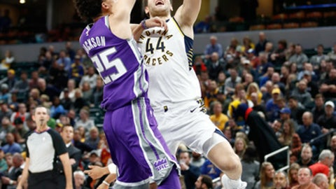 INDIANAPOLIS, IN - OCTOBER 31:  Bojan Bogdanovic#2 of the Indiana Pacers shoots the ball against the  Sacramento Kings  at Bankers Life Fieldhouse on October 31, 2017 in Indianapolis, Indiana.  NOTE TO USER: User expressly acknowledges and agrees that, by downloading and or using this photograph, User is consenting to the terms and conditions of the Getty Images License Agreement.  (Photo by Andy Lyons/Getty Images)