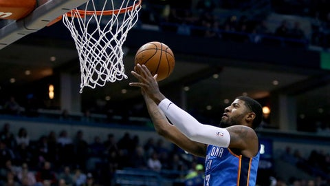 MILWAUKEE, WI - OCTOBER 31:  Paul George #13 of the Oklahoma City Thunder attempts a layup in the first quarter against the Milwaukee Bucks at Bradley Center on October 31, 2017 in Milwaukee, Wisconsin. NOTE TO USER: User expressly acknowledges and agrees that, by downloading and or using this photograph, User is consenting to the terms and conditions of the Getty Images License Agreement. (Photo by Dylan Buell/Getty Images)