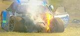 No. 14 Lexus catches fire after massive crash at Petit Le Mans 2017