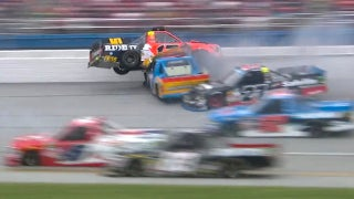Cody Coughlin nearly flips into the catchfence at Talladega