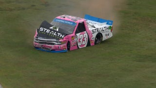 Kaz Grala checks up to avoid a spin, crashes hard at Talladega