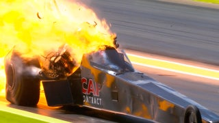 Steve Torrence walks away from horrific crash, then suffers major engine explosion in semifinals   2017 NHRA DRAG RACING